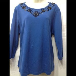 Women's size XL ALFRED DUNNER embellished blouse